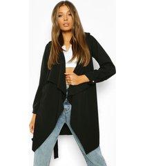 jas met militarair detail, grote kraag en ceintuur, black