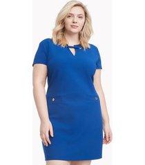 tommy hilfiger women's curve short-sleeve grommet dress marina blue - 20w
