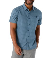 men's 7 diamonds none but the brave short sleeve button-up stretch blend shirt, size small - blue