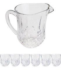 conjunto 7 pã§s de cristal jarra e copos imperial 320ml bon gourmet - transparente - dafiti