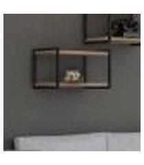 nicho com prateleira em mdf carvalho com suportes metalon estilo industrial 60cmx33cmx38cm