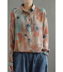 camicetta allentata vintage a maniche lunghe con bottoni tie dye