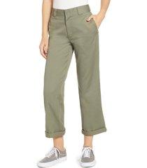 women's dickies crop work pants, size 3 - green
