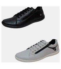 kit 2 pares sapatênis casual lona estilo pleno lc602 black