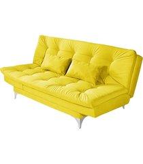 sofá cama 3 lugares versátil império estofados amarelo