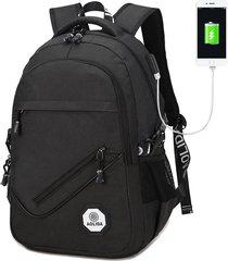 mochila usb al aire libre, bolso de la computadora de viaje-negro