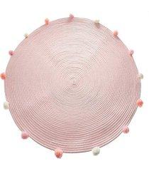dywan bawełniany z pomponami różowy