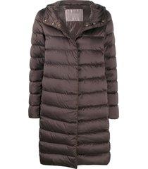 herno tied waist padded coat - brown