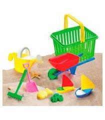 cesta de areia monte líbano com sacola e acessórios colorido