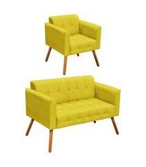 conjunto sofá retrô 2 lugares e 01 poltrona elisa suede amarelo - d'rossi