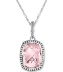 """gemstone and white topaz 20"""" necklace pendant in sterling silver"""