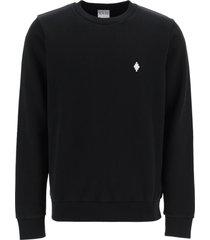 marcelo burlon crew neck sweatshirt with fire cross embroidery