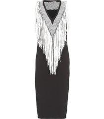 d.exterior pencil dress with fringes