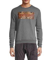 roberto cavalli sport men's logo graphic sweatshirt - grey - size xl