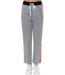 miu miu gray cotton blend trousers with logo inserts