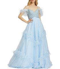 mac duggal women's beaded feather-trim gown - powder blue - size 6