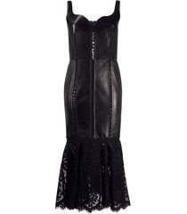alexander mcqueen floral lace trim fitted dress - black