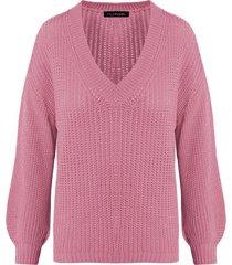 gebreide trui met v-hals dust roze