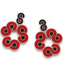 awangardowe duże kolczyki - czarny czerwony