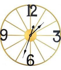 zegar metalowy złoty z czarnymi cyframi 60 cm
