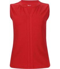 camiseta m/s recogido en frente color rojo, talla 14