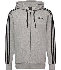 essentials 3-stripes track jacket hoodie trui grijs adidas performance