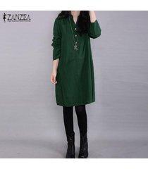 zanzea mujeres botón más soporte de cuello de manga larga mini vestido verde -verde