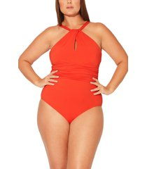 plus size women's bleu by rod beattie urban goddess keyhole high neck one-piece swimsuit, size 22w - red