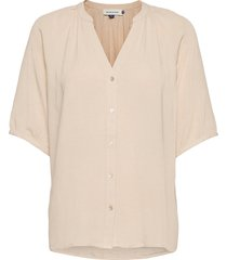 dhhannah shirt blouses short-sleeved beige denim hunter