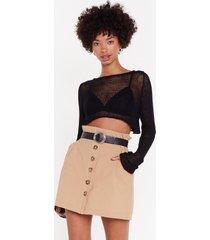 womens button my own linen mini skirt - sand