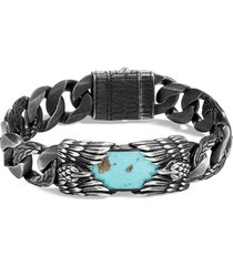 'legends eagle' turquoise pyrite silver bracelet