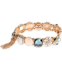 lonna & lilly gold-tone multi-crystal link bracelet