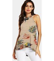 blusa sin mangas con cuello halter recortado con estampado floral aleatorio de yoins