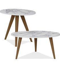 kit com mesa de centro e mesa de canto lateral lyam decor retrô branco carrara
