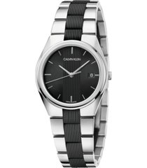 calvin klein men's contrast stainless steel & black silicone bracelet watch 40mm