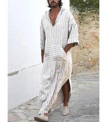 falda a rayas con cuello en v informal para hombre sudaderas con bolsillo con dobladillo largo con abertura