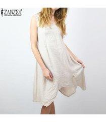 zanzea vestido corto de playa de fiesta de verano con escote en v de algodón corto para mujer -beige