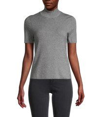 saks fifth avenue women's mockneck short sleeve sweater - black white - size s