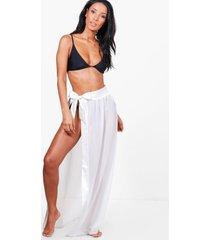 satin tie beach sarong, white