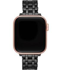 kate spade new york scallop apple watch(r) bracelet in black/rose gold at nordstrom