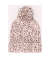 gorro feminino de tricô canelado com pompom rosa