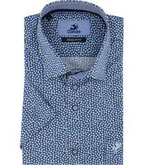culture overhemd korte mouwen blauw dessin