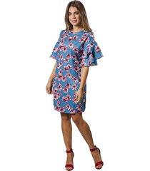 vestido corto adrissa en jacquard estampado floral con boleros en mangas