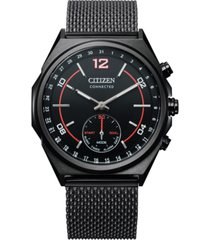 citizen men's connected black stainless steel mesh bracelet watch 42mm
