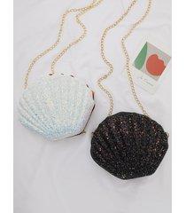 bolso bandolera con correas de cadena extraíbles en forma de concha de lentejuelas