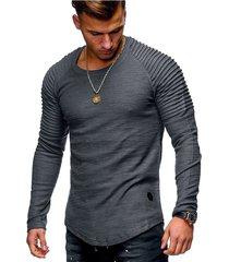 hombres de moda casual o-cuello delgado de manga larga camiseta-gris