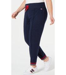 tommy hilfiger sport plus size fleece varsity-stripe-hem track pants