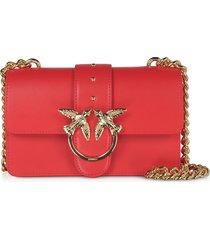 pinko designer handbags, red love mini simply shoulder bag
