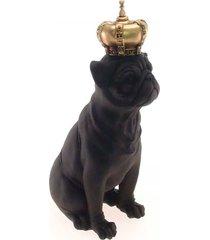 enfeite decorativo cachorro coroa dourada resina preto 28x12 - amarelo - dafiti
