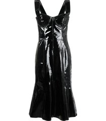 natasha zinko corset patent leather midi dress - black